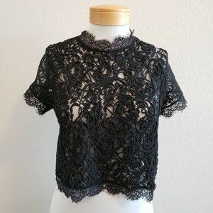 Outrageous Fortune Braided Rope Lace Crop Top 8*